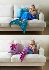 Reversible Sequin Mermaid Tail Blanket Ideal Gift For Kids - Pink / Blue
