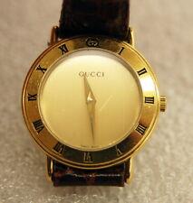 Ladies Gucci 3300.2.L Quartz Wrist Watch w/ Gold Roman Numeral Dial Brown Band