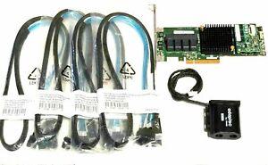 Adaptec ASR 71605 1GB 16Port PCIe Raid w/ Battery & 4x Cables SFF-8643 to SATA