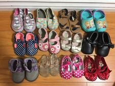 Lot Of 12 Pairs of Baby Girl Sandals Flats Moccasins Boots Jelly Sz 3-4