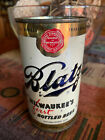 BLATZ 50's Flat Top Beer Can with Tax Stamp bottom opened