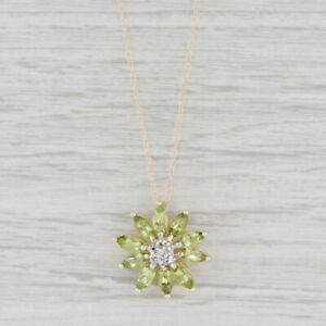 """2.50ctw Peridot Flower Cluster Pendant Necklace 10k Yellow Gold 20"""""""