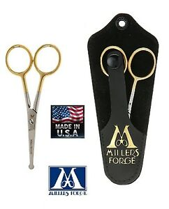"""MILLERS FORGE GOLD EYE/EAR/NOSE BLUNT Safety Tip 4"""" SHEAR Scissor*Pet Grooming"""