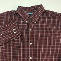 Arrow Button Up Shirt Men's Large Long Sleeve Maroon Check Casual Cotton Blend