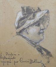 Portrait d'élegante mention Pierre CARRIER-BELLEUSE (1851-1932) femme au chapeau