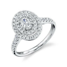 Oval Diamond Halo Engagement Ring Solitaire 14K White Gold Certified Natural VS2