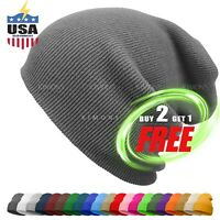Cuff Beanie Knit Hat Winter Cap Slouchy Skull Ski Solid Men Women Plain Baggy