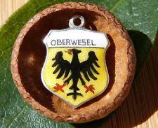 VINTAGE 835 SILVER enamel OBERWESEL Germany shield CHARM (C-176)
