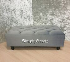Large Ottoman Chesterfield Footstool/Coffee Table charcoal Plush  Velvet