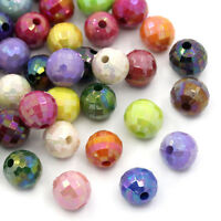 300 Mix  Farbe Facettiert Rund Acryl Spacer Beads Bicone Rhombe 8mm