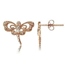 Rose Gold Tone over Sterling Silver Cubic Zirconia Dragonfly Stud Earrings