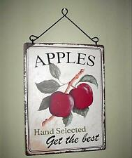 Retro Country Apples Distressed Tin Sign With Hanger 12 X9