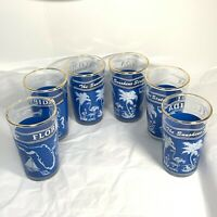 6 Pc VINTAGE FLORIDA JUICE GLASSES Sunshine State BLUE WHITE Painted Gold Trim