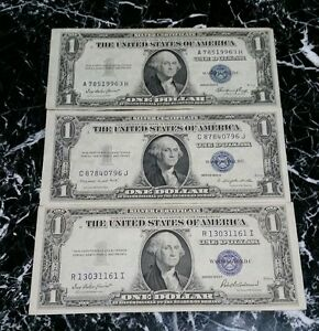 Lot of 3 Silver Certificates 1935 E-F and G. Better grades