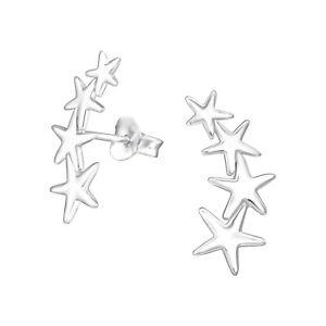 Shiny Trailing Star Sterling Silver Stud Earrings 18mm