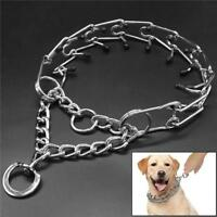 Dog Training Collar Prong Stainless Steel Spike Rubber Choke Pinch Comfort CO