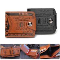 "US ""$100"" Dollar Bill Leather Bifold Wallet For Men Cash ID Slots Card Holder"