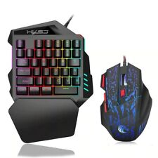 One-Handed Wired Gaming Keyboard & Mouse PC Gamer Ergonomic Colorful Backlight