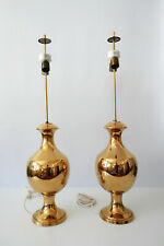 SET of TWO Mid Century GOLD GLAZED Ceramic TABLE LAMPS by BEHRENO Firenze, ITALY