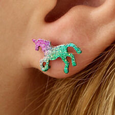 Colorful Cartoons Glitter Unicorn Ear Stud Bling Shiny Horse Earrings Jewelry