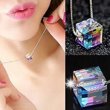925Silver Crystal Cube Necklace Chain - Xmas Jewellery Gifts For Her Wife Women