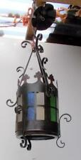 Vintage French Gothic Style Metal & Coloured Glass Hanging Ceiling Light