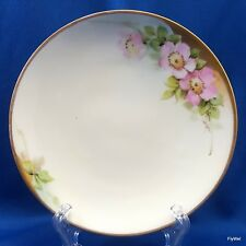 PT Bavaria Everett Studio Porcelain Plate Hand Painted Pink Floral Gold Trim 6""