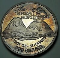 """TONED """"THE GREAT NORTHWEST"""" SILVER TRADE UNIT ROUND VINTAGE BU COLOR UNC (DR)"""