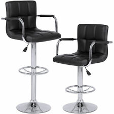 Set of 2 Swivel Hydraulic Height Adjustable Leather Pub Bar Stools Chair - Black