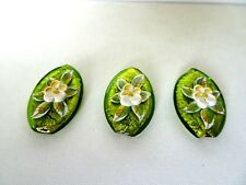 Murano Lampwork Tear Drop Glass Beads Foil Lime Green With Raised Flower Design