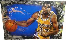 Magic Johnson Hand Signed Autographed 25X38 Canvas Lakers Steven Holland