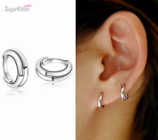 925 Sterling Silver Plain Simple Tiny Small Hoop Huggie Earrings 10mm Men Women