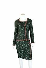 CHLOE Green Sequin Long Sleeve Asymmetrical Top & Skirt Set w/ Brown Trim - US 6