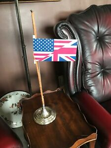 Antique Miniature Table Top Silver Plated Flag Pole