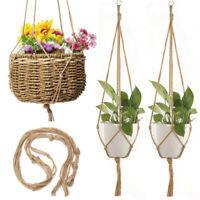Planter Flower Pot Macrame Lifting Hanging Rope Basket Handcrafted Braid 13US