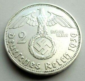(49)WWII German 2 Mark  - 1939 D  -  Silver -  Coin  BIG SWASTIKA