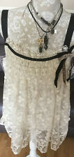 NEW WOMENS RIVER ISLAND CREAM LACE SHEER TOP DETACHABLE BROOCH BOHEMIAN FAE BOHO