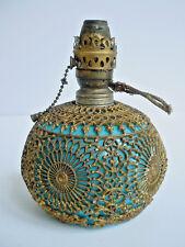 Antique Miniature Blue Milk Glass Lamp Wrapped in Gold Ormolu