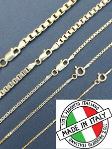 14k Gold Over Real Solid 925 Sterling Silver Box Chain 1-4mm Necklace Men Ladies