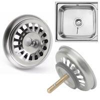 1x Kitchen Basin Drain Dopant Sink Strainer Basket Leach Waste Plug Steel Tools