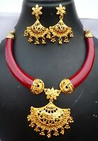 22K Gold Plated Indian 8'' Long Wedding Necklace Earrings Set Aak