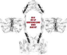 SNOWMOBILE SKI DOO WRAP KIT DECAL REV,XP, XR,XS,XM 03-16 HONEYCOMB CAMO WHITE