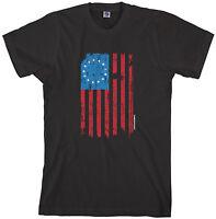Threadrock Mens 13 Star American Flag T-shirt Betsy Ross USA History Patriotic