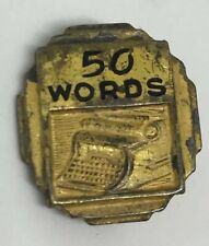 Antique Jewelry 50 WAM Words Per Minute Typewriter Award Lapel Pin Gold C Clasp
