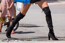 Stuart Weitzman Highland Black Suede OTK Boots US 6M NIB $800