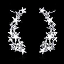 925 Silver Plt Multi Star & Crystal Non- Piercing Ear Hook Clip on, Ladies Gift