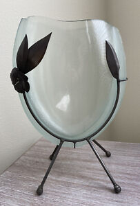 Art Glass Vase In Metal Decorative Stand Oval Flat Wide Frosted Fused Textured