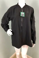 NWT Womens Puma Black Lightweight Bomber Full Zip Ruched Arm Jacket Sz Medium