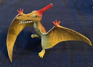Vintage Pterodactyl Figure Toy Flying Dinosaur Yellow Red Jurassic Prehistoric