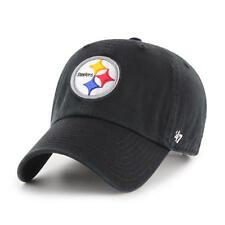 Pittsburgh Steelers  47 Brand Black Clean Up Adjustable Dad Hat dd1cfb1b9